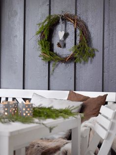 winter on the terrace Christmas Diy, Christmas Wreaths, Christmas Decorations, Advent, Diy Wreath, Fall, Terrace, Decorating Ideas, Home Decor