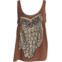 Top With Sequins Owl outift Saint Tropez Beige NELLY.COM Mote on ❤ liked on Polyvore featuring tops, shirts, tank tops, blusas, sleeveless, beige tank, sequin tank top, brown tops, sequin tanks and sleeveless tank tops