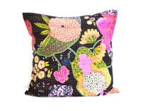 Decorative Pillow in black with floral print - Kantha pillow - Throw pillow - cotton decorative cushion cover 16X16