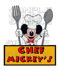 Chef Mickey Spoon   Scrapbook Paper Piece Disney by welcomejungle2, $2.49