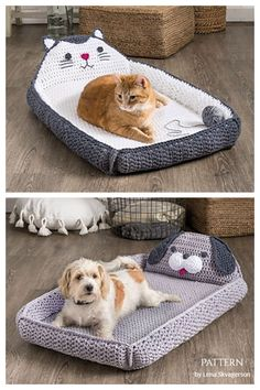 Gato Crochet, Crochet Cat Beds, Crochet For Dogs, Free Crochet, Crochet Dog Clothes, Crochet Dog Sweater, Crochet Dog Patterns, Dog Couch, Dog Blanket