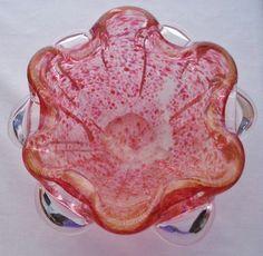 Extraordinary MURANO Glass FLOWER BOWL Modern SCULPTURAL Pink ROSE Lavender GOLD