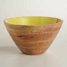 Large Apple Green Wood Salad Bowl | World Market