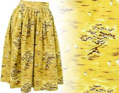 Description: 1950s Adorable Watercolor Style Folk A Line Skirt with Fitted Pleated Waist, Novelty Print Background with a Boat and Tree Scene in