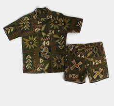 0bb64ed107 Vintage 60s Men's CABANA Set / 1960s HAWAIIAN Swim Trunks Shorts & Shirt 2  Piece M