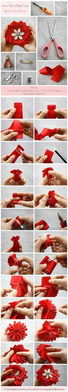 How To Make a Ribbon Medallion Flower Tutorial Infographic | http://blog.jewelboxballerina.com/new-make-ribbon-medallion-flower-tutorial-infographic/#more-362 #diyweddings