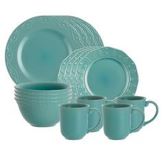 Whitaker Dinnerware Set in Aqua from the Holiday Table with Paula Deen event at Joss and Main!
