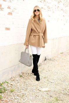Camel Wrap Coat, White Jeans, Black Stuart Weitzman OTK Boots, GiGi New York Tote