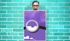 Despicable Me 2 Purple Minion Art  Wall Art by geeksleeksheek, $17.00 Purple Minion Party, Purple Minions, Minion Art, Despicable Me 2, Dreamworks, Artsy Fartsy, Pixar, Parties, Wall Art