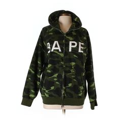 Pre-owned A Bathing Ape Zip Up Hoodie Size 12: Dark Green Women's Tops ($65) ❤ liked on Polyvore featuring tops, hoodies, dark green, zip up hoodie, a bathing ape, zip up hoodies, hoodie top and hooded sweatshirt