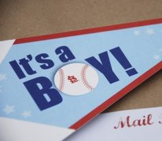 For the all American boy -- Baseball Pennant Baby Shower Invitation