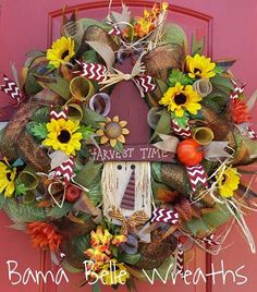 Scarecrow Sunflower Wreath by BamaBelleWreaths on Etsy, $99.00