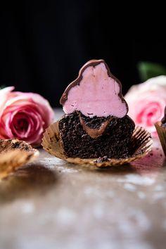 Valentine's Surprise Chocolate High Hat Cupcakes   halfbakedharvest.com @hbharvest