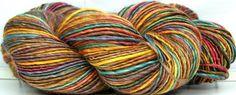Kitty Grrlz Hand Spun Yarn - Autumn Rainbow, merino wool & tencel  (See all my yarns here:  http://www.etsy.com/shop/kittygrrlz