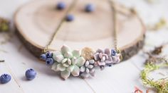Succulent and Blueberry necklace with Natural druzy. Woodland Necklace.  Flower necklace.  Succulent jewelry. Pendant with Natural druzy. by imakeflowers on Etsy https://www.etsy.com/listing/270512363/succulent-and-blueberry-necklace-with