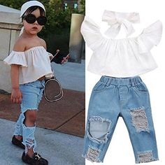 e11aa36cb2f8b 3pcs Baby Girls Kids Off Shoulder Lotus Leaf Top Holes Denim Jeans Headband  Outfits Set