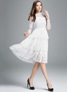 Lace Solid 3/4 Sleeves Knee-Length Casual Dresses