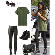 Kylie Jenner outfit - black leather leggings, khaki tee, flat biker boots & satchel...x