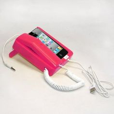 Tsirtech Phone Handset and Sync Stand for iPhone 4, 3GS, 3G, and Other Wireless Phones with 3.5 mm Headphone Jack Hot Pink!only 30 bucks!