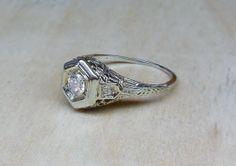 Vintage Antique .22ct Diamond 18k White Gold by DiamondAddiction, $395.00