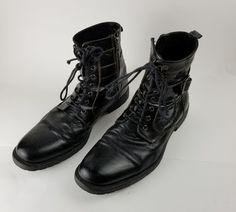 Aston Grey Mens Side Zippered Black Combat Boots Size 12 #AstonGrey #combatboots