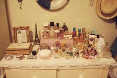 I love a vanity filled with seductive bottles and fripperies and cosmetics! From http://www.flickr.com/photos/pearled/