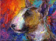 "Saatchi Art Artist Svetlana Novikova; Printmaking, ""Colorful Bull Terrier dog portrait painting"" #art"