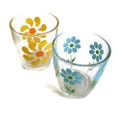 Vintage Hazel Atlas, Swanky Swigs, Flowers, Sour Cream Jar, Glasses Set of 2