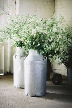 Milk Urns - Jenny Packham Eden for a Tipi Wedding With All White Flowers and Images by David Jenkins