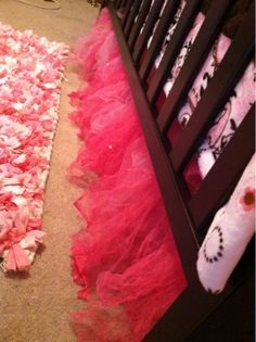 Tulle crib skirt...i will be making this with the leftover tulle from my wedding!! Might use pink & turquoise with leopard bedding:)