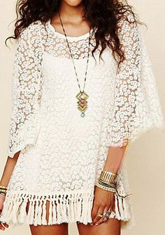 Crochet Short Tassels Dress - Beige from @LookBookStore