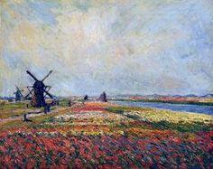 Fields Of Flowers And Windmills Near Leiden