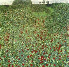 "Field of Poppies by Gustav Klimt. The painting ""Blooming poppies"" has a very strong impressionistic and pontillistic touch. Compared with Klimt's known colour palette in his studio paintings, he here decides to underline the naturalistic appearance of the luminosity of sunlight. He uses best possible plain colours in little dots and brushstrokes and so comes to a very specific colourtexture."