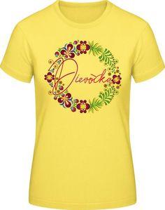 Ľudový motív Dievočka - Dámske ľudové tričko - žlté Textiles, Tops, Fashion, Moda, Fashion Styles, Fabrics, Fashion Illustrations, Textile Art