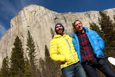 Kevin Jorgeson, of Santa Rosa, and Tommy Caldwell, right, talked to the press after completing the first free climb of the Dawn Wall route of El Capitan yesterday. Check out the story at The Press Democrat. (Photo by John Burgess)