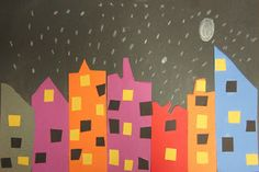 Spot of Color: Kindergarten  Shapes City ay Night collage