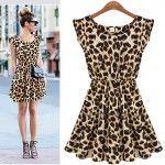 Most fabulous dress for this Fall 2014. I love it! Women Casual Leopard Print Dress Microfiber Summer Dresses