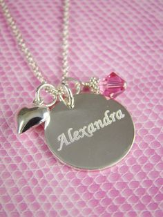 Girl Necklace, Girl Name Necklace, Personalized Girl Birthday Gift Idea, Gift for Little Girl, Birthstone Necklace Flower Girl Jewelry, Flower Girl Gifts, Name Necklace, Necklace Lengths, Arrow Necklace, Birthday Gifts For Girls, Girl Birthday, Perfect Gift For Girlfriend, Little Girl Gifts