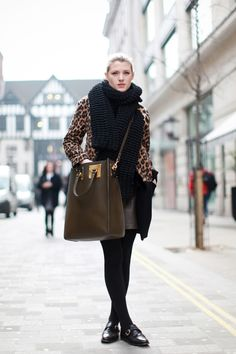 Sophie Hulme bag, Russell & Bromley shoes, Zara coat, and homemade scarf.