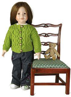 Knit doll aran sweater cardigan free pattern