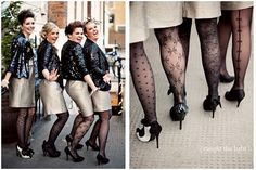 Rock'n'Roll Bridesmaids. Black patterned tights are a must!