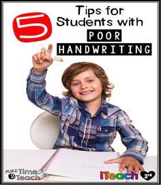 iTeach Third: 5 Tips for Students with Poor Handwriting 6th Grade Ela, 2nd Grade Writing, Kids Writing, Hand Writing, Third Grade, Improve Your Handwriting, Handwriting Practice, Kindergarten Language Arts, Teaching Kindergarten