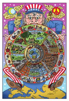 """Americosmos,"" by Darrin Drda, uses American and Tibetan Buddhist mandala iconography to poke fun at the meaninglessness of existence"