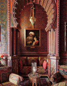 YSL and Pierre Bergé's library; Villa Oasis, Morocco. Photography by Oberto Gili.