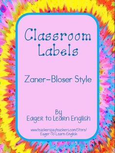 Included in this purchase are BOTH my English version (https://www.teacherspayteachers.com/Product/Classroom-Labels-in-English-Zaner-Bloser-style-1619110) and Spanish version (http://www.teacherspayteachers.com/Product/Classroom-Labels-in-Spanish-Zaner-Bloser-style-1642565) of my Classroom Labels written with Zaner-Bloser style font.