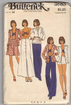 Butterick 3683 1970s Misses Shirt Halter Bra Top Mini Maxi Skirt and Pants womens vintage sewing pattern by mbchills