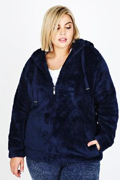 Navy Plain Fluffy Hooded Fleece With Zip