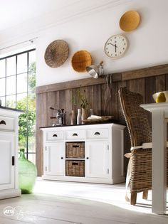 Shop for NovaSolo Halifax Contrast Pure White Mahogany Wood Sideboard Dining Buffet With Storage, 3 Drawers And 2 Rattan Baskets online - Toocutefashion Painted Sideboard, Painted Buffet, White Painted Furniture, Modern Furniture, Dining Buffet, Sideboard Buffet, Credenza, Dining Room, Hallway Sideboard