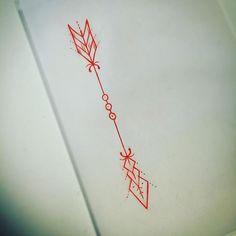 Red Color Arrow Tattoo Design