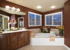 Master bathroom with his & her sinks and large soaking tub